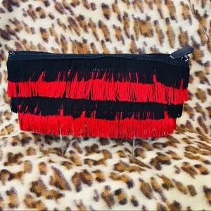 Braciano black and red fringe hand bag
